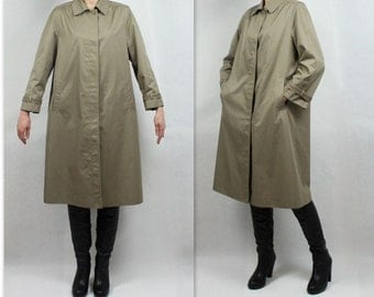 Khaki Trench Coat Vintage Women's Trench Coat Midi Rain Coat Preppy Trenchcoat Classic Raincoat 90s Minimalist Coat Outerwear