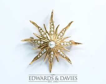 Starburst Brooch Pendant Necklace | Pearl Starburst Pendant | Starburst Brooch | Antique Jewelry | Antique Jewellery | Vintage Brooch Pin
