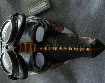 Steampunk Mask - Ace of the Air - wearable, includes removable/wearable goggles - artist Robyn Ridout / Fantasy Faces