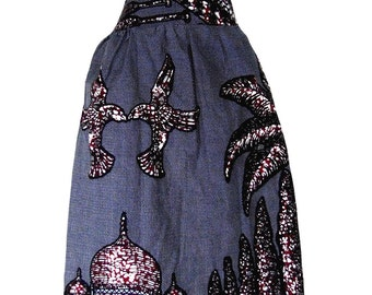 "African print knee length skirt, ""Fola"",  with zipper, gray and black print with pockets"