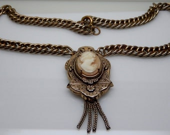 Victorian Revival Cameo Necklace Vintage Hand Carved Shell Cameo Necklace with Tassel
