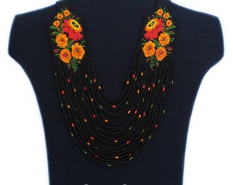 Black orange necklace Orange flower necklace Black orange jewelry Orange flower jewelry Beaded necklace Statement necklace Flower necklace