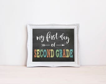 """First Day Of Second Grade Chalkboard Sign 