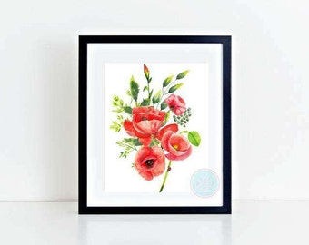 PRINTABLE Flower Art Prints Poppy Painting Art Poppy Art Poppy Watercolor Art Red Poppies Floral Wall Art Flowers Art Print Flower Print