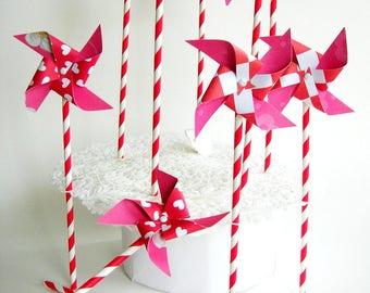 Paper pinwheels 10 pieces. Red straws. Party, wedding, cake,