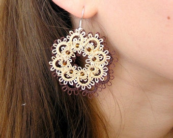 Tatting earrings Flower earrings Long earrings Beige jewellery Chandelier earrings Lace earrings Frivolite Gift for her