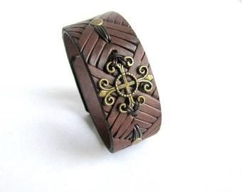 Mens brown leather bracelet, mens cross bracelet, mens leather cuff, embossed leather bracelet, maltese cross bracelet, cross bracelet