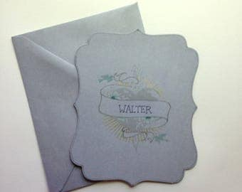 Personalized hand painted Tattoo Love Note flat notecard with envelope