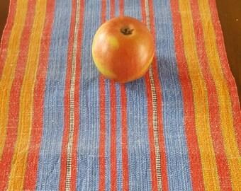 Traditionel Swedish Striped Tabel Runner Handwoven Linnen and Cotton Scandinavian Vintage Rural Design