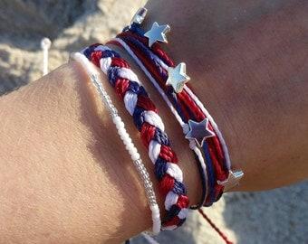 4th of July Bracelet Set, Red White & Blue, USA Friendship Bracelet Set, Waterproof Wax Cord, Silver Star Bracelet, Adjustable Bracelet