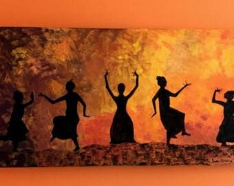 Dancing Women Shadows Acrylic Painting