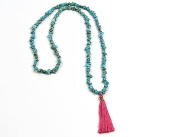 Turquoise and Hot Pink Tassel Necklace . Hot Pink Tassel . Aqua and Pink Necklace . Handmade Tassel Necklace . Statement Necklace . Spring