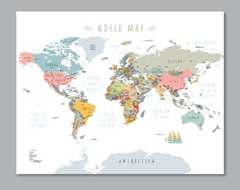 World map with countries, PRINTABLE wall art Modern home decor (#P345)