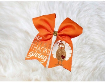 Thanksgiving Cheer Bow~Lil'Miss Thanksgiving Cheer Bow~Cheer Bow