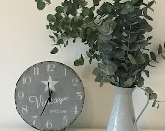 Vintage Grey Glass Star Wall Clock