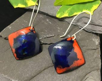 Kiln fired vitreous enamel earrings / dangle earrings / sterling silver hooks / hand crafted / copper earrings  /royal blue / orange