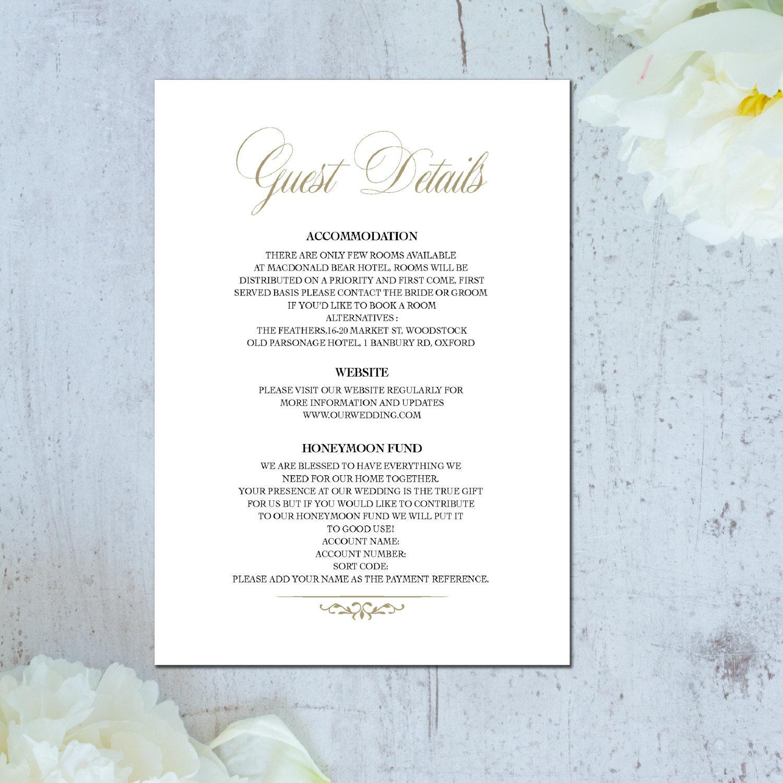 metallic wedding information card wedding details card details card wedding wedding info card wedding accommodation card invitation set