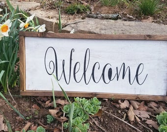 Welcome sign, Farmhouse sign, Welcome, Wood sign, Rustic sign, Front porch, Distressed sign, Wood, Hand painted