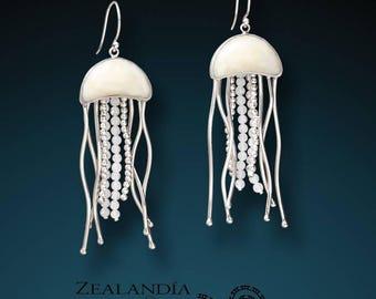Sterling Silver Jellyfish Earrings - Hand Carved Bone