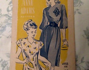 Original Vintage 1940's Anne Adams Ladies Dress Sewing Pattern Seamstress Needlecraft Craft Supplies Fashion DIY Haberdashery