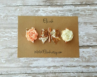 Baby hair clip , rose gold hair clip , bow hair clip , glitter bow hair clip , felt flower hair clip , light coral flower hair clip
