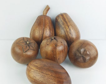 Vintage 1960s Carved Monkeypod Wood Midcentury Fruit Decor