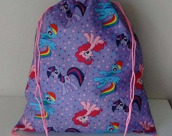 child's My Little Pony printed fabric drawstring backpack