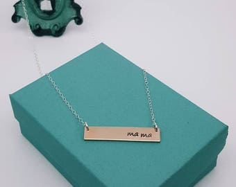 Two-Tone Name Bar Necklace | Hand-Stamped | Personalized Necklace | Rose-Gold Filled or Yellow-Gold Filled | Sterling Silver Chain
