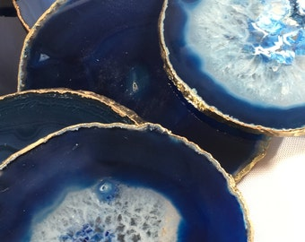 Blue Coasters-Blue,Agate- Natural Agate Drink Coasters -Natural stone Coasters- Coasters, Stone coasters,Office Gift, Wedding Gift,Bar,Blue