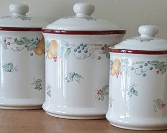 Vintage Ceramic Canisters~Abundance Canister Set~Ceramic Pottery Set of 3 in 2 Sizes With Lids Made to Match Abundance by Corelle