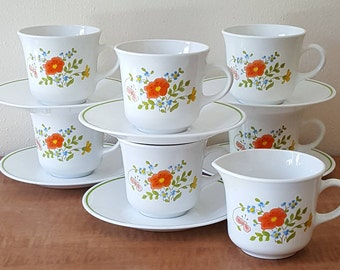 Vintage Corning Ware Corelle Wildflower 13 Pc Set  Creamer Tea Cups & Saucers~Made in the USA~Not for Microwave