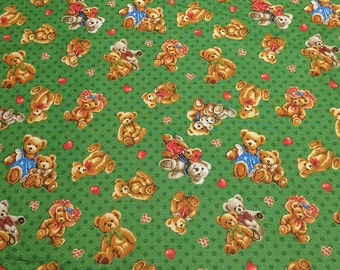 Teddy Bears on Green Cotton Fabric