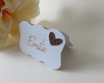Glitter Place Cards, Personalized Place Cards, Wedding Place Cards, Bronze Place Card, Copper Place Cards, Bridal Shower Place Cards, Custom
