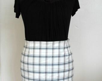White tartan skirt