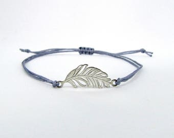 Feather bracelet Sterling Silver 925 cord grey - cord and map - Creation of glow bracelet