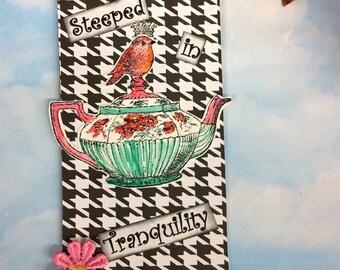 Teapot Mixed Media Art Tag, gift tag, hang tag, just because gift