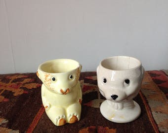 Two Vintage Bear Egg Cups - Bear-shaped Eggcups - Kitsch Bear Eggcups - Eggcup Collectible