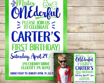 Mr. ONEderful | Mister Onederful | Watercolor Birthday Invitation