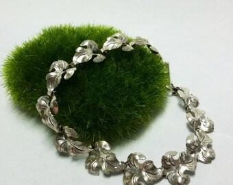 Beau Sterling Leaf Bracelet - RARE Oak Foliage link pattern
