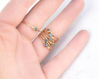 Raw Blue Diamond Ring, Yellow Gold Stackable Raw Diamond Ring, April Birthstone Ring, Raw Diamond Stacking Ring, Electroformed Diamond Ring