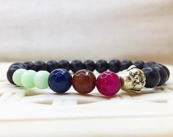 Shungite bracelet, Shungite beads, Blue Agate, Rose Agate, Brown Agate, Agate bracelet, black matte, buddha bracelet Worldwide shipping gift