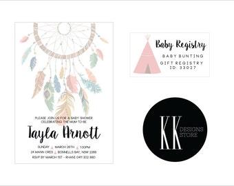 Boho Baby Shower Invitation & Registry Card