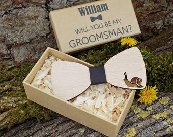 Snail Bow Ties, Handmade Bow Ties, Groomsmen Gifts, Wedding Bow Ties, Men's Bow Ties, Snail Wooden Bow Ties, Will you be my Groomsman