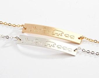 SALE-Mama Bear Bracelet-Gold Bar Bracelet-Personalized Gift for Mom-Baby Bears Cubs -14K Gold Filled-Rose Gold Filled,Sterling Silver-CG243B