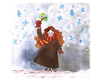 Hermione Christmas postcard