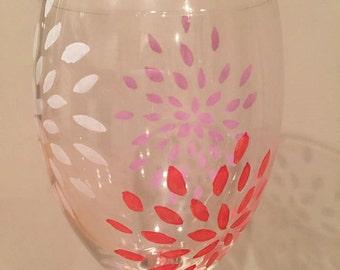 Handpainted Flower Wine Glass