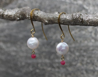 Pearl and Ruby Drop Earrings, Petite Pearl Coin Dangle Earrings, Dainty Pearl and Ruby Earrings, July Birthstone Earrings, June Earrings