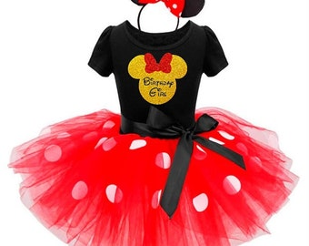 Birthday Girl Minnie Mouse Outfit / Minnie Inspired Tutu Dress