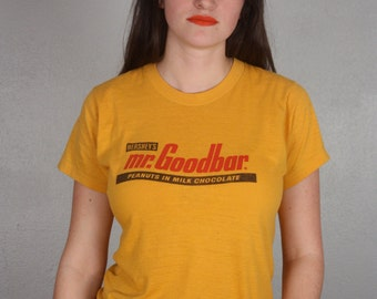 Vintage Retro 1970's Gold and Red Mr. Goodbar T-Shirt