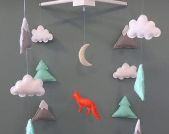 Orange fox mobile, mountain mobile, tree mobile, cloud mobile - baby felt mobile